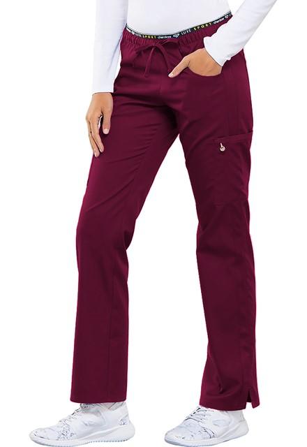 Spodnie medyczne damskie Luxe Sport czerwone wino