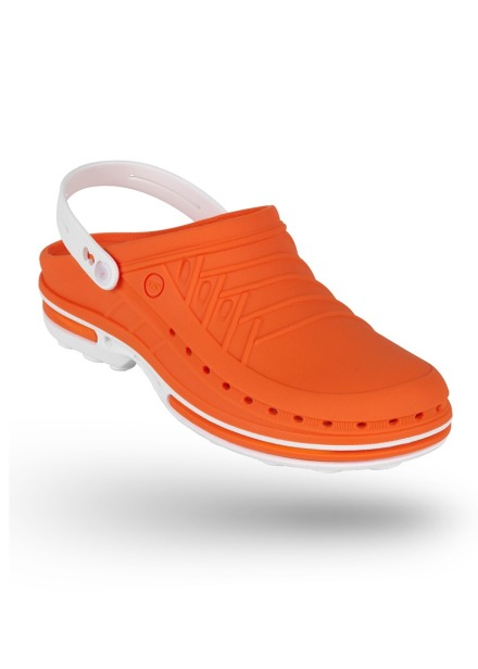 Buty Clog unisex z paskiem pomarań-biały