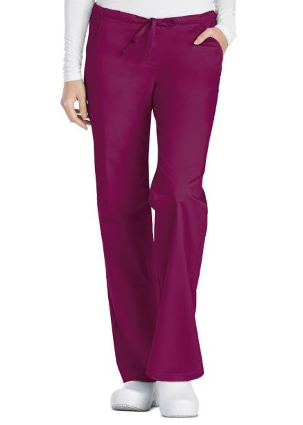 Spodnie medyczne damskie Luxe czerwone wino