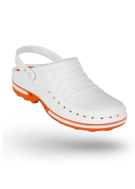 Buty Clog unisex z paskiem biało-pomarańczowe