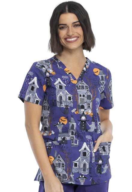Bluza medyczna damska Haunted Halloween