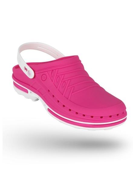 Buty Clog unisex z paskiem różowo-biały