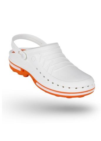 cb112b90 Buty Clog unisex z paskiem biało-pomarańczowe